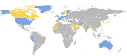 Mapa država koje su priznale Kosovo
