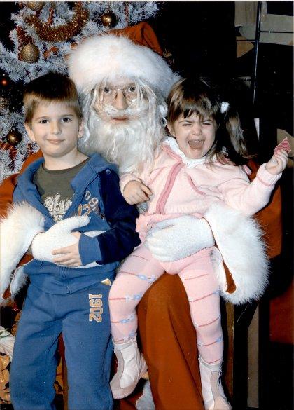 Milica i Milutin sa Deda Mrazom - Srećna Nova 2008.
